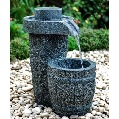 Millstone Granite Fountain, Granite Garden Fountain, Stone Garden Fountain