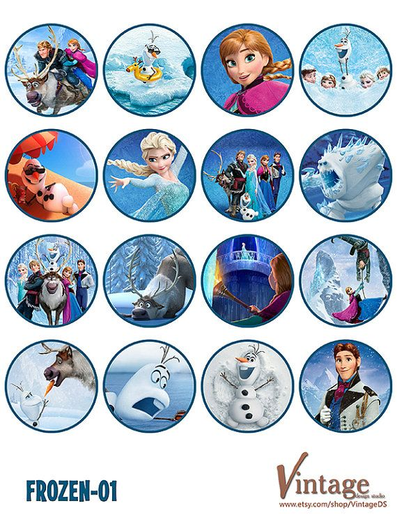 Disney Frozen Birthday party Cupcake Toppers Images 2 by VintageDS, $5.99