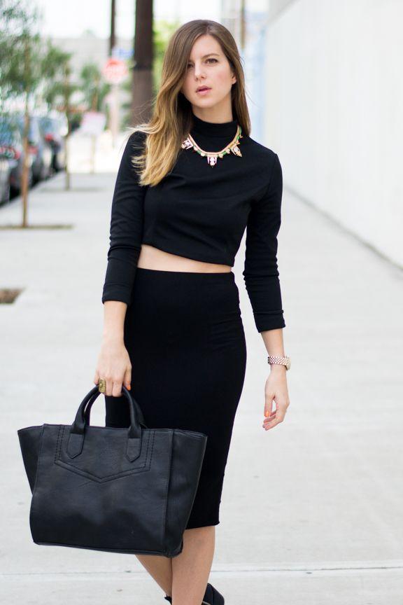 crop top and midi skirt looks