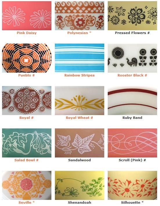 pyrex patterns-ugh, I don't have a single one of these patterns.