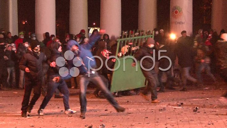 Protesters Attacked Police Throwing Stones Set Cars Alight Stock