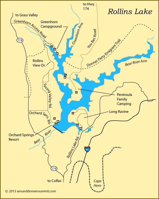 map of Rollins Lake, Colfax, CA