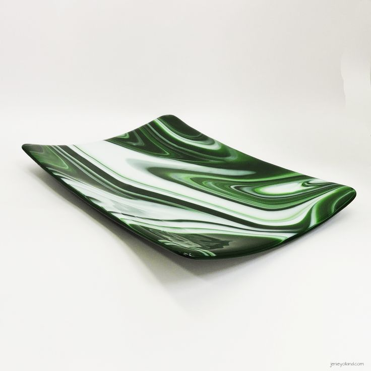 Beryl emerald art glass unique one-off platter 20x30cms by jenie yolland