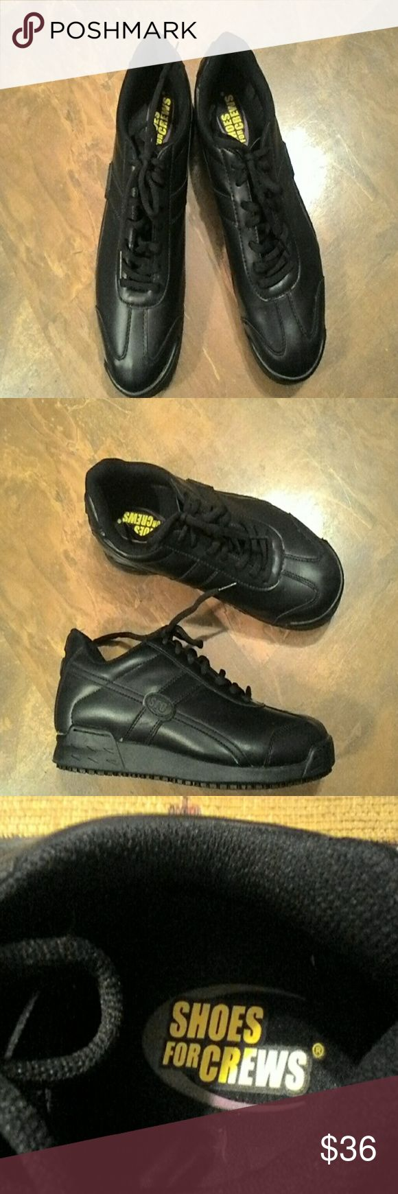 """""""Shoes For Crews""""Men's Black Safety Shoes SZ.10 Black slip and oil resistant occupational work safety sneakers,padded tongue and heel,black laces,rubber soles.Like New,very good condition. Shoes For Crews Shoes Sneakers"""