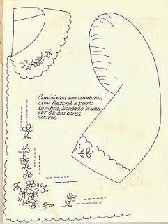 <>BORDADO VARICÔR e OUTROS BORDADOS -*Flor Artesanato*: RISCO PARA CAMISINHA COM GOLA E MANGA