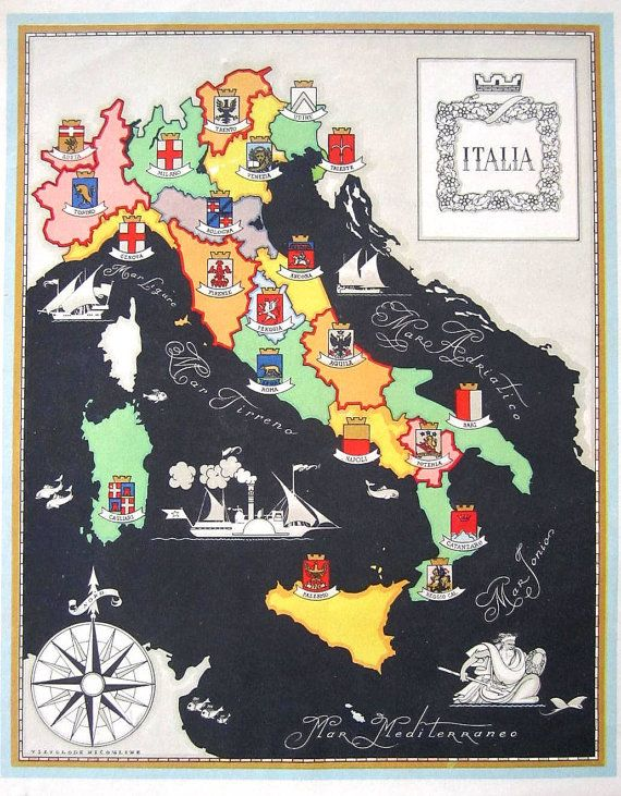 Vintage Italy Map Giclee by LeTrip on Etsy, 39.00