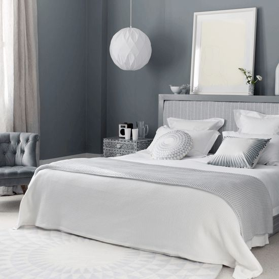Dark grey with the white makes a strong impression