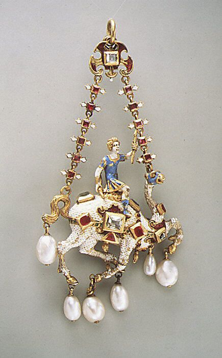 Pendant  Date: ca. 1600 Culture: Northern European Medium: Gold, enamel, rubies, emeralds, diamonds, pearls Dimensions: 4-7/16 x 2-1/8 x 10/16 in. (11.3 x 5.4 x 1.6 cm) Classification: Metalwork-Gold Credit Line: The Friedsam Collection, Bequest of Michael Friedsam, 1931 Accession Number: 32.100.299