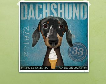 Dachshund Cigar company graphic dog art by geministudio on Etsy