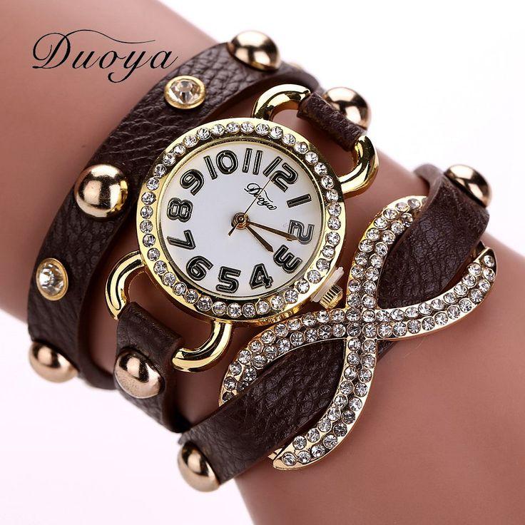 DUOYA Luxury Brand Vintage Watch Womens Casual Bracelet Watches Stud Rhiestone Ladies Analog Quartz Casual Watch Wristwatch 2017