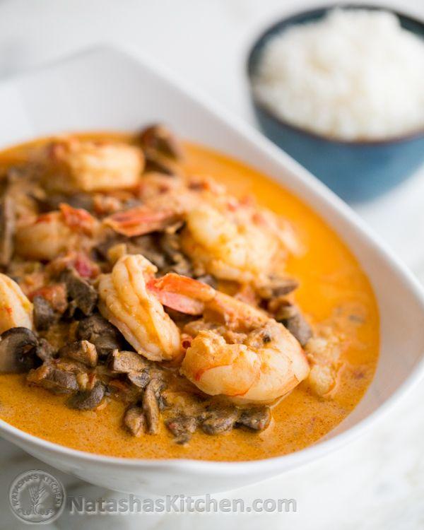 Shrimp and Mushrooms in a Garlic Bisque Sauce   NatashasKitchen.com