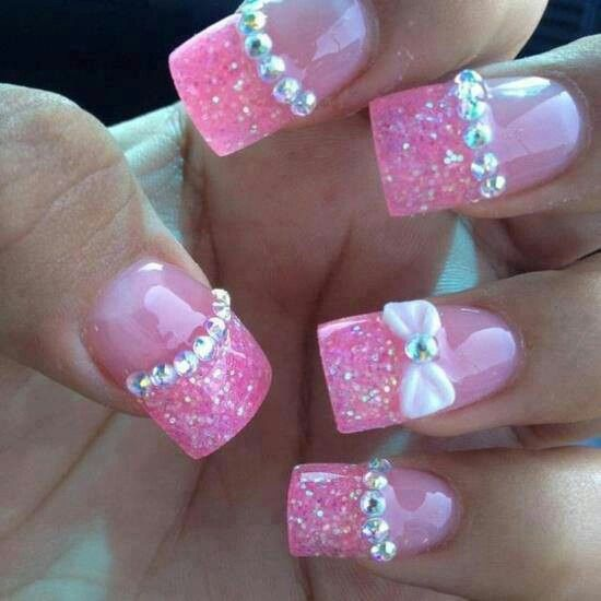 Pink sparkly french nails with 3D art #acrylic #bow # ...