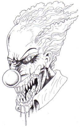scary halloween clown drawings