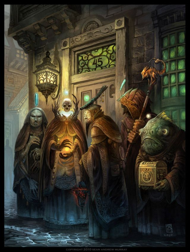 Wizard Alley Picture  (2d, fantasy, magic, alley, sorcerers, night scene, mages)