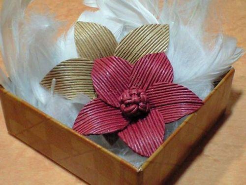 紙バンドで花!2の作り方|エコクラフト|紙小物・ラッピング | アトリエ kamiband tutorial