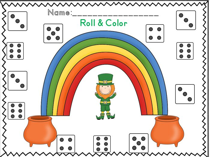 Roll and color part of there was an old lady who swallowed a clover activity set