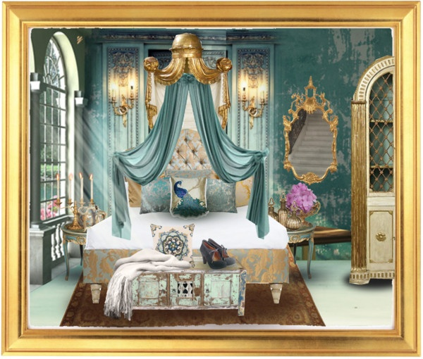 Quot Gold And Turquoise Bedroom Quot By Kearalachelle Liked On