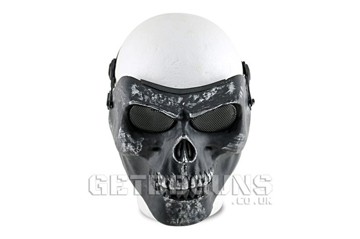 BLACK AND SILVER AIRSOFT SKELETON FULL FACE MASK -   #getbbguns #bbguns #airsoft #mask #fullmask #mask