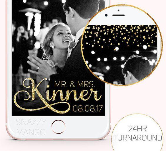 Wedding Snapchat Geofilter Gold Glitter Wedding Geofilter