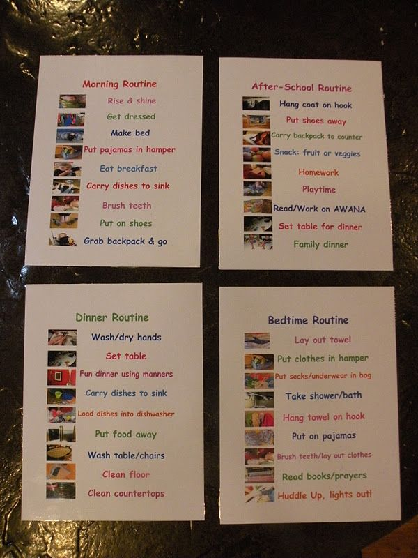 Picture Schedule for families.  Laminate and place on clipboard.