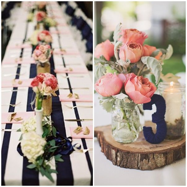 montage photos decoration de mariage theme navy and pink