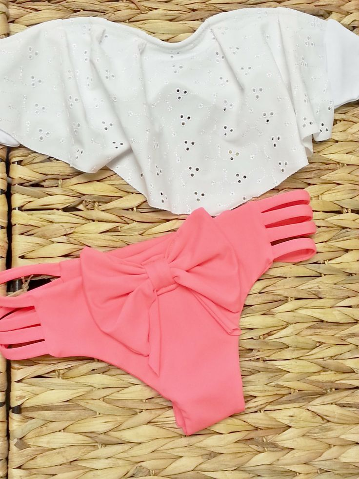Eyelet Ruffle Bandeau Brazilian Swimwear by AZTECASWIMWEAR on Etsy, $36.00