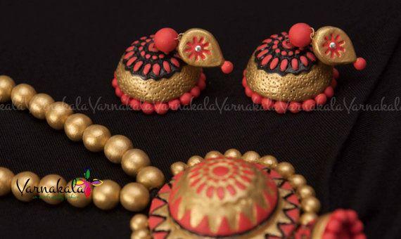 PEACH-PINK & GOLD Handmade Terracotta Clay Jewelry  by Varnakala