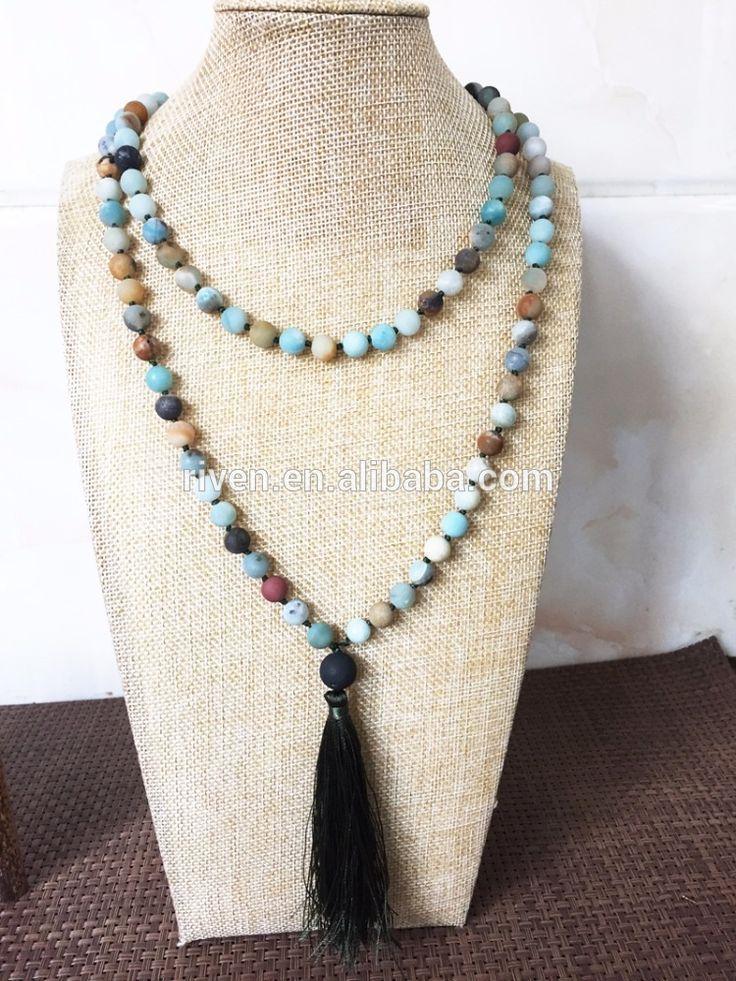 ST0360 Долго Амазонит ожерелье 108 камень Амазонит мала кисточкой ожерелье Ручной работы бусы с агатом и серый кисточкой