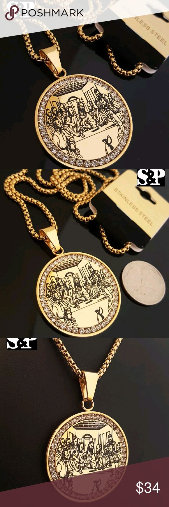 """Gold Stainless Steel Jesus Last Supper necklace Chain : Round Box Chain  Chain Length : 24""""  Chain Width : 3mm  COLOR: 14K Gold Tone Stainless Steel    PENDANT SIZE : 40mm (Diameter)  CZ Stones on Pendant   High Quality & Polished Accessories Jewelry"""