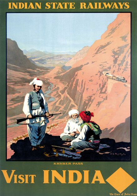 Visit India The Khyber Pass Vintage Indian State Railways Travel poster