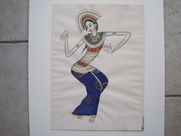 I Ketut Rudin (1920 - 2002) Balinese janger dancer - Gouache ink and gold paint on paper- Indonesia