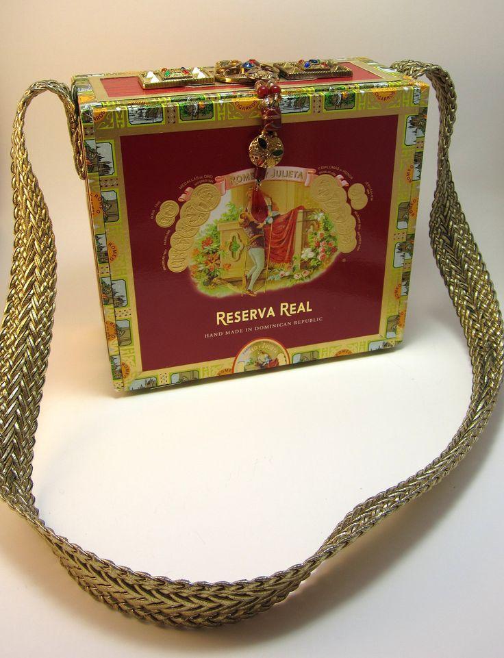 Cigar Box Purse Red and Gold Romeo y by handartdesignstudios