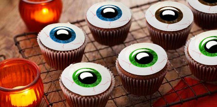 12 décors pour cupcakes ou pâtisseries en formes d'yeux dont vous pouvez choisir la couleur pour attirer tous les regards lors d'Halloween ! Dès 6,90 €