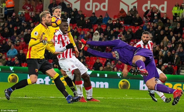 Watford's Brazilian goalkeeperHeurelho Gomes punches the ball into the face of his Swiss team-mateValon Behrami