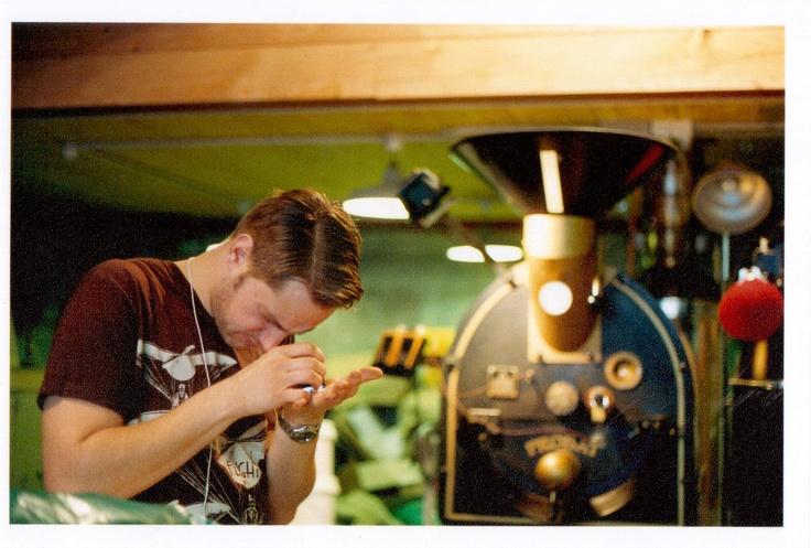 Richard the roaster inspecting beans.    Photography:  http://www.facebook.com/photographybyjane