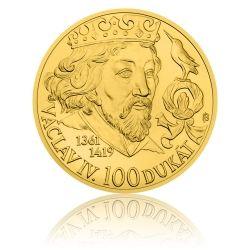 Zlatá investiční mince 250 NZD 100dukát Václava IV. stand