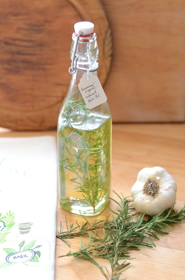 Rosemary Garlic Infused Olive Oil 3-5 cloves garlic   4 sprigs fresh  rosemary Needed airtight container   extra virgin olive oil 3-5 cloves  garlic   4 sprigs fresh rosemary To Make Smash garlic with the backside of  a wooden spoon. Over medium-high heat warm olive oil, being careful it  doesn't boil. Add garlic and cook 3-4 minutes on medium heat. Remove from  heat and add 2 sprigs of rosemary. Allow to cool 10 minutes then discard  garlic and rosemary. Add 2 sprigs of fresh rosemary to…