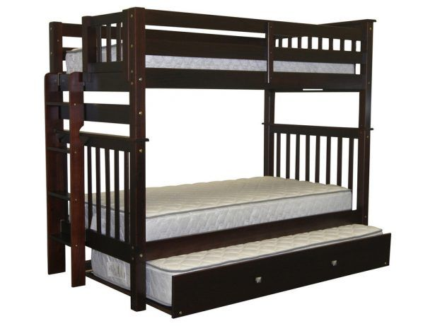 Transitional Varnished Solid Wood Bunk Beds Tall Twin Over Twin Ladder Cappuccino And Trundle Microfiber Memory Foam Matrees 33 Amazing Cool and Playful Bunk Beds Ideas