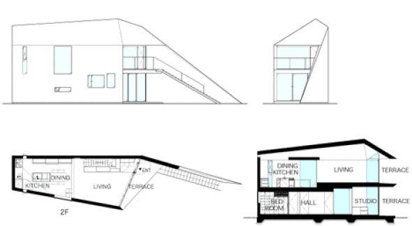 Esta casa se basa en una gran parte a la casa de los padres del propietario. Parte de la primera planta se utiliza como un estudio fotográfico, y los espacios habitables se colocan en el segundo piso donde se encuentra la entrada.