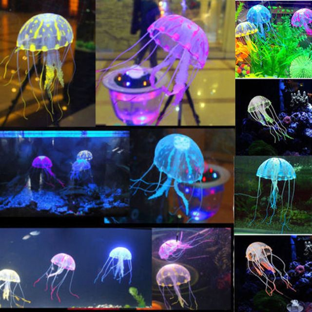 """Настоящее Acuarios горячая распродажа! 5.5 """" светящийся эффект искусственного медузы для аквариумных рыб Jar танк украшение плавать украшения в продаже"""
