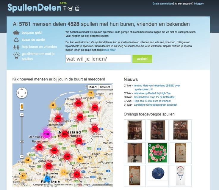 SPULLENDELEN.nl >> pullendelen.nl is een website waar je spullen die je niet (zo vaak) meer gebruikt kunt delen met de mensen die jij vertrouwt (b.v. je buren, vrienden en collega's). Op de Spullendelen.nl website kun je zien wat je in je omgeving en van je vrienden kunt lenen, zelf spullen te leen aanbieden en bijhouden van wie en aan wie je iets hebt (uit)geleend.