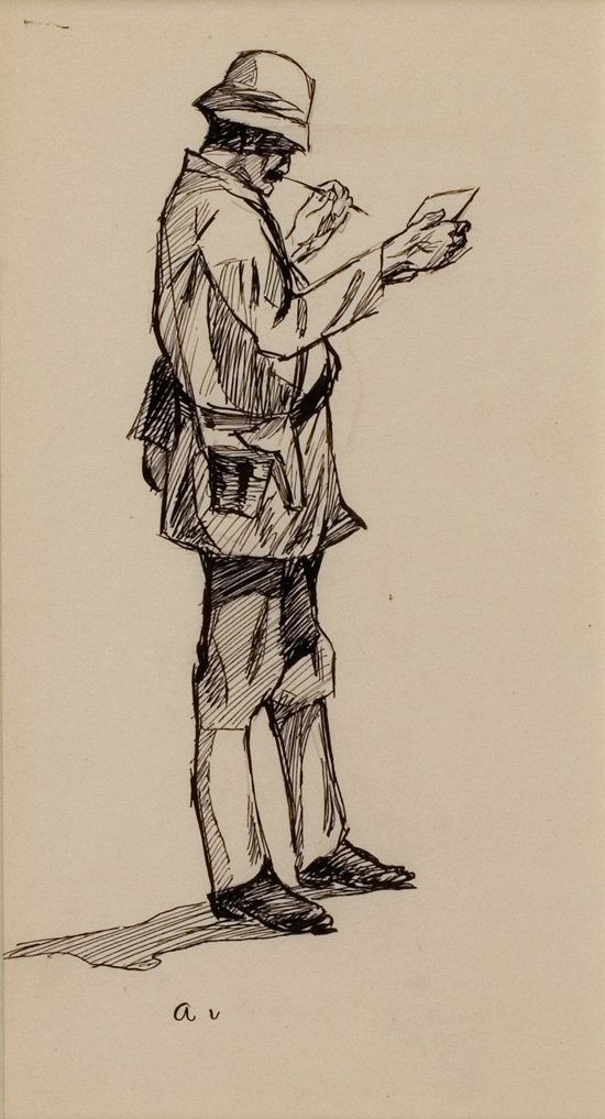 Edward Hopper pen and ink sketch, The Bengal Writer