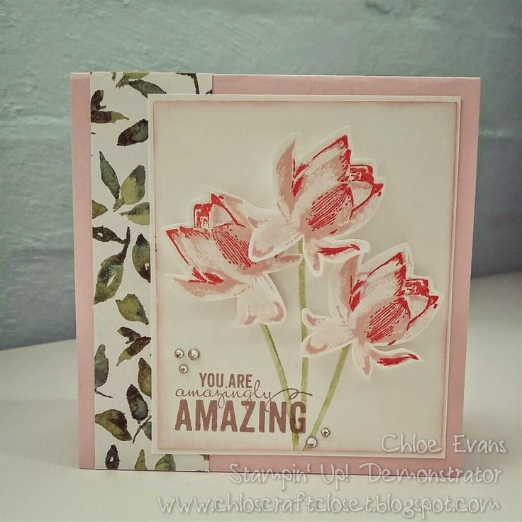 Stamps: Painted Petals (OC) and Lotus Blossom (SAB)  Ink: Blushing Bride, Pear Pizazz, Calypso Coral and Crumb Cake  Cards: Pink Pirouette and Whisper White  Other: Painted Petals DSP and Rhinestones.
