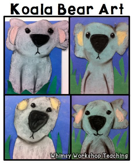 Cute and easy Koala Bear artwork!  Free step by step directions and lots of examples! Whimsy Workhshop Teaching