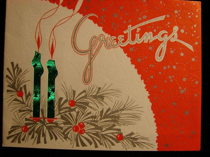 "VINTAGE ""BRIGHT GREETINGS!!"" CHRISTMAS GREETING CARD 