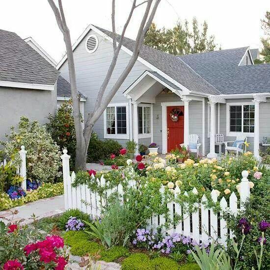 Inviting front yard flower garden