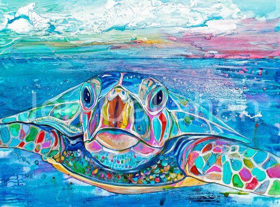 "Sea Turtle Coastal Decor Outdoor Print 18""x24"" Ready to Hang by Jen Callahan"