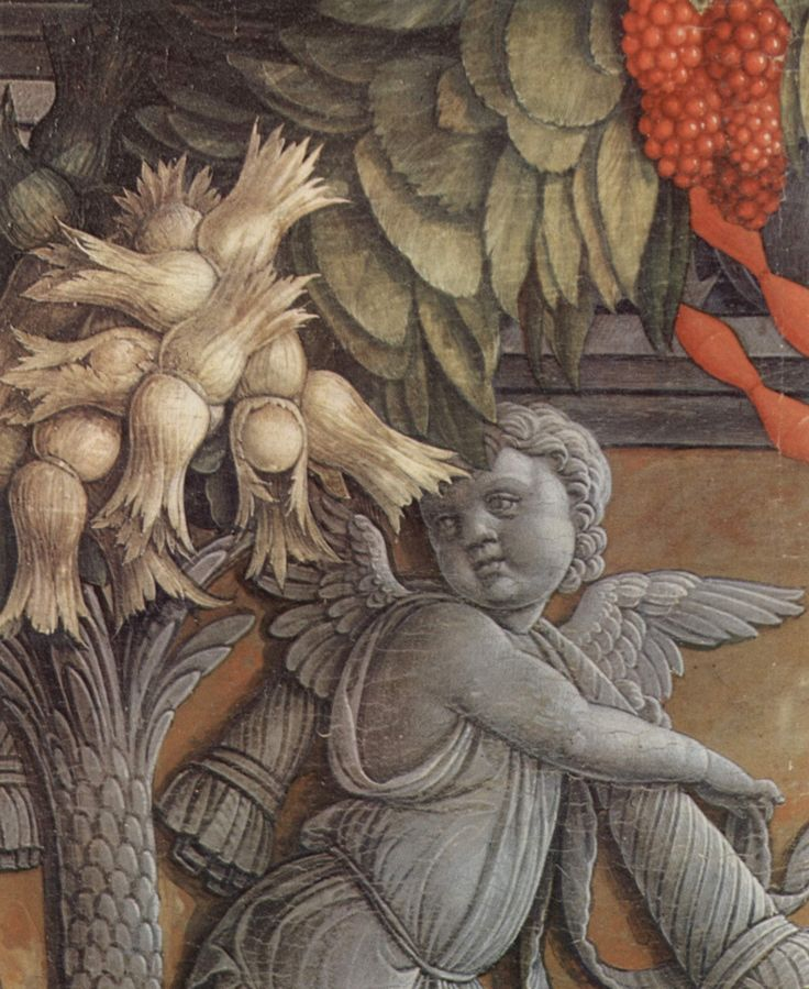 Middle panel detail 'Enthroned Madonna and Angels' (1457-59) by Italian Renaissance painter Andrea Mantegna (1431-1506) for the Altarpiece of San Zeno, Verona. Triptych, tempera on wood, 220 × 115 cm. via Wikipedia