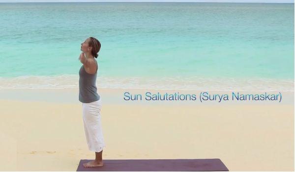 Sun Salutations yoga poses with Grace Van Berkum.  #yogaposes