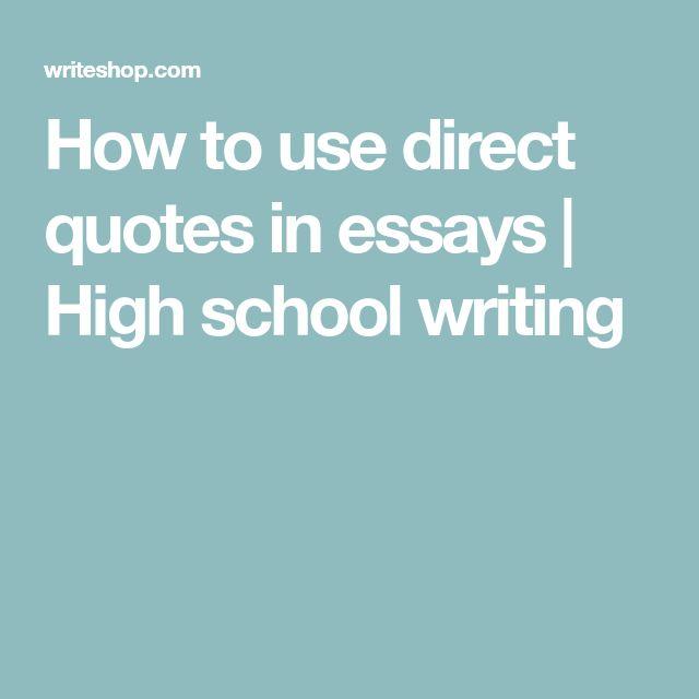 High school essay quotes